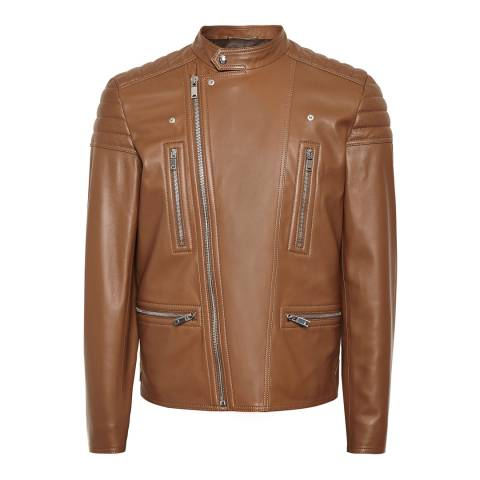 Reiss Tan Sully Leather Biker Jacket