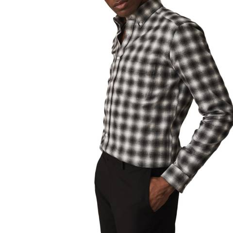 Reiss Black Blurred Check Firenze Shirt