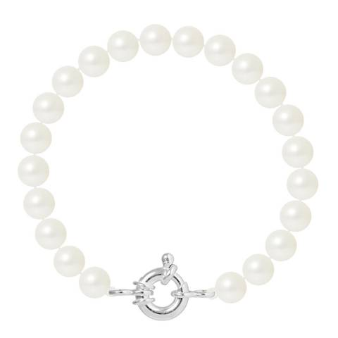 Manufacture Royale White Round Pearl Bracelet 7-8 mm