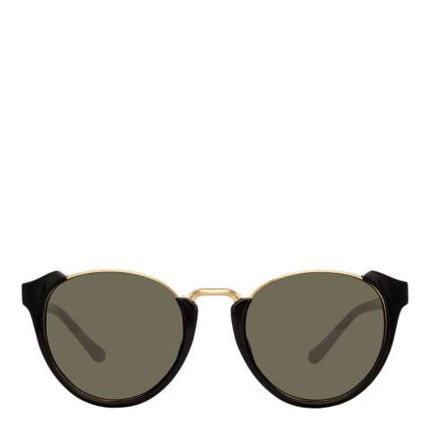 Linda Farrow Black Tami Oval Sunglasses