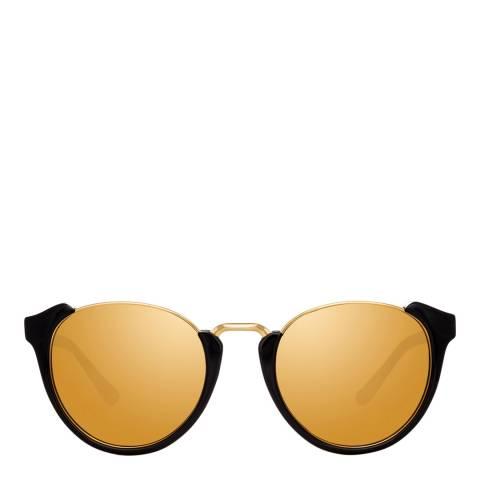 Linda Farrow Black Gold Tami Oval Sunglasses