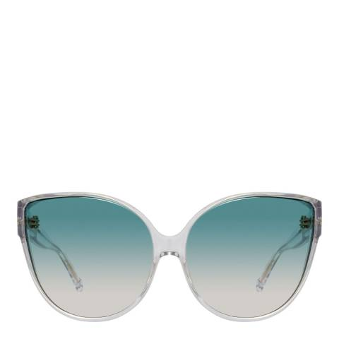 Linda Farrow Light Gold Turquoise Gradient Cat Eye Sunglasses
