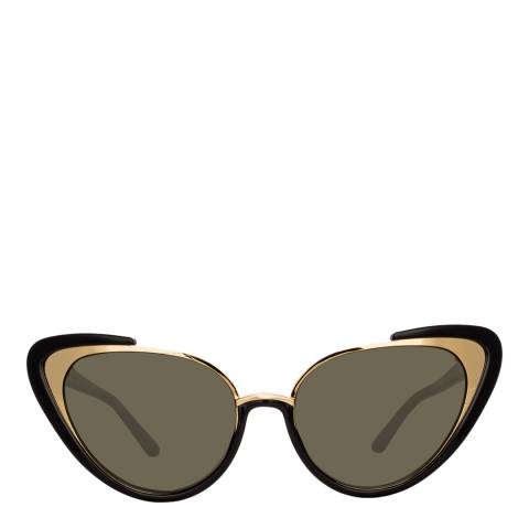 Linda Farrow Black Khira Cat Eye Sunglasses