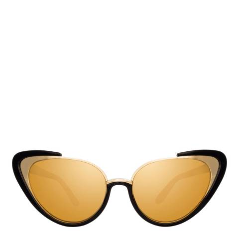 Linda Farrow Black Gold Khira Cat Eye Sunglasses