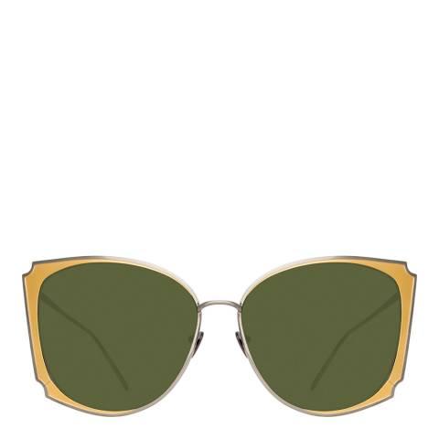 Linda Farrow Nickel Tahra Cat Eye Sunglasses