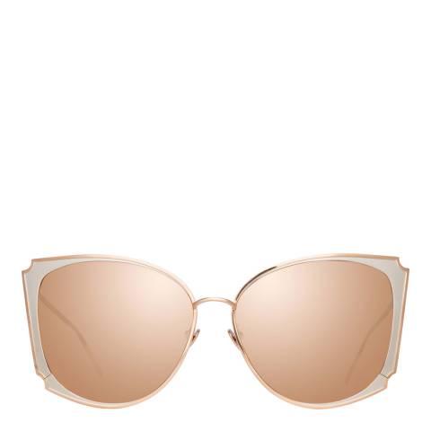 Linda Farrow Rose Gold Tahra Cat Eye Sunglasses