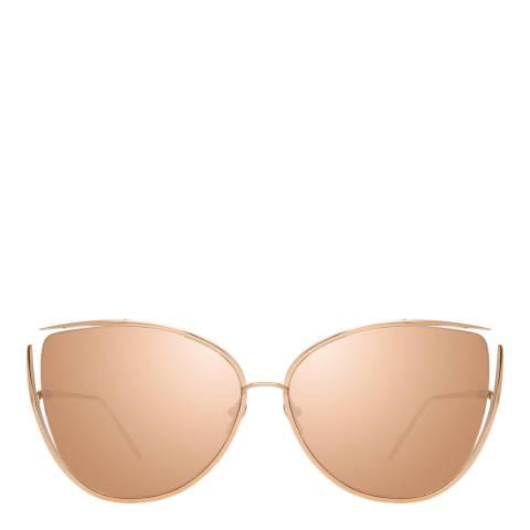 Linda Farrow Rose Gold Yasmine Cat Eye Sunglasses