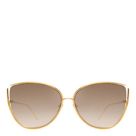 Linda Farrow Yellow Gold Mocha Yasmine Cat Eye Sunglasses