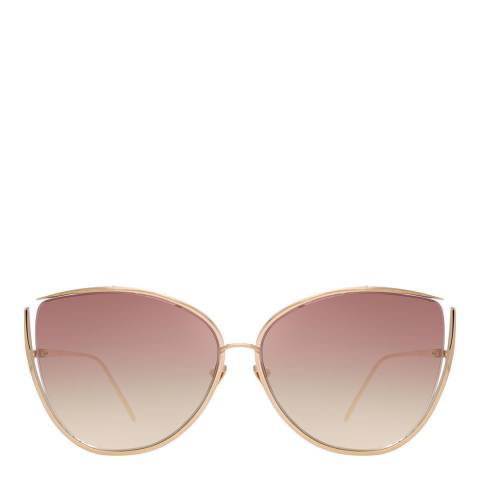 Linda Farrow Light Gold Burgundy Yasmine Cat Eye Sunglasses