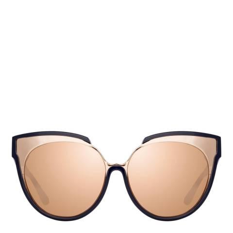 Linda Farrow Navy Rose Gold Sami Oversized Sunglasses