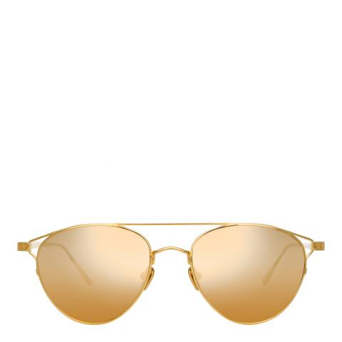 Linda Farrow Yellow Gold Omar Aviator Sunglasses