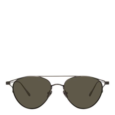 Linda Farrow Nickel Omar Aviator Sunglasses