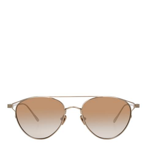 Linda Farrow Light Gold Mocha Omar Aviator Sunglasses