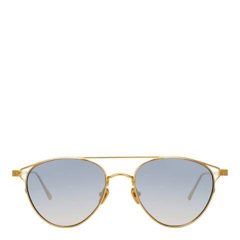 Linda Farrow Yellow Gold Navy Omar Aviator Sunglasses
