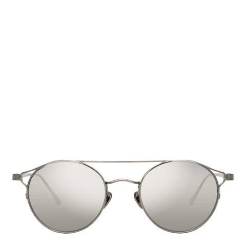 Linda Farrow White Gold Adil Oval Sunglasses