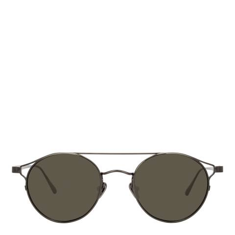 Linda Farrow Nickel Adil Oval Sunglasses