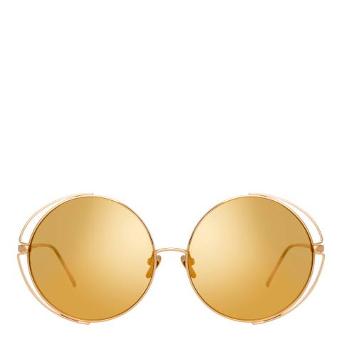 Linda Farrow Yellow Gold Farah Round Sunglasses