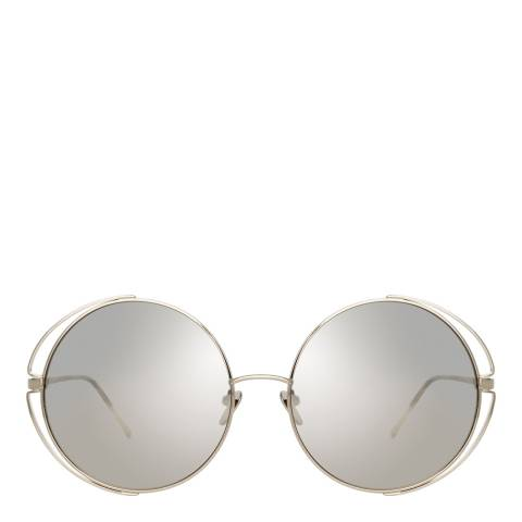 Linda Farrow White Gold Farah Round Sunglasses