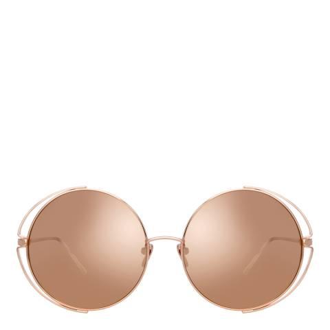 Linda Farrow Rose Gold Farah Round Sunglasses
