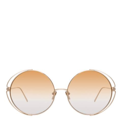 Linda Farrow Light Gold Farah Round Sunglasses