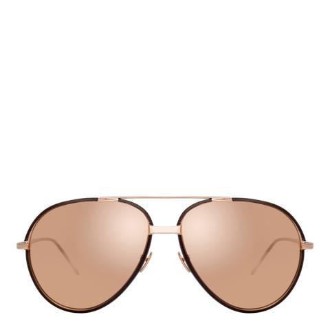 Linda Farrow Rose Gold Salem Aviator Sunglasses