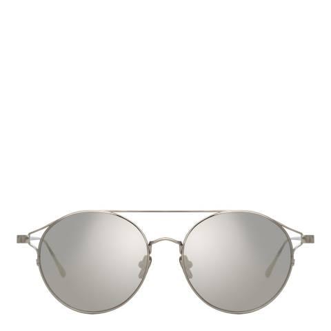 Linda Farrow White Gold Rayan Oval Sunglasses