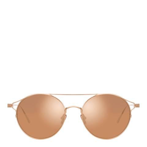 Linda Farrow Rose Gold Rayan Oval Sunglasses