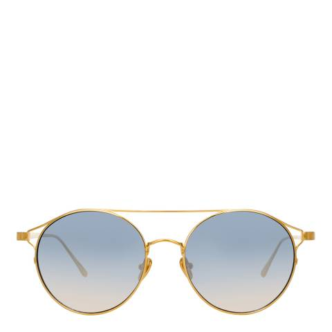 Linda Farrow Yellow Gold Navy Rayan Oval Sunglasses
