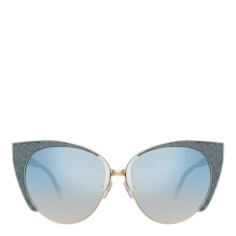 Mathew Williamson Blue Glitter Cat Eye Sunglasses