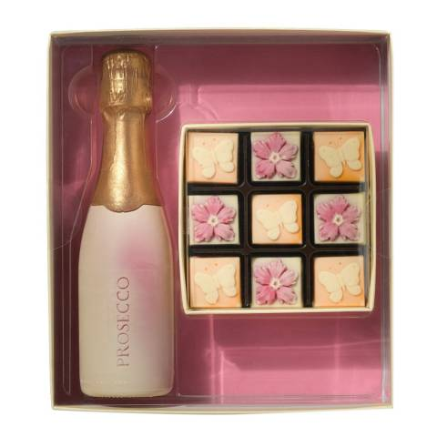 Choc on Choc Prosecco Bottle with Flowers & Butterflies