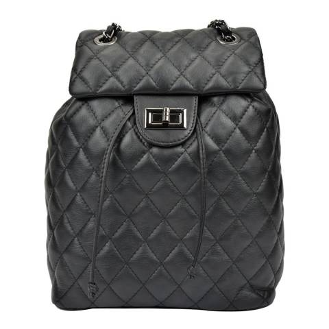 Anna Luchini Black Leather Backpack