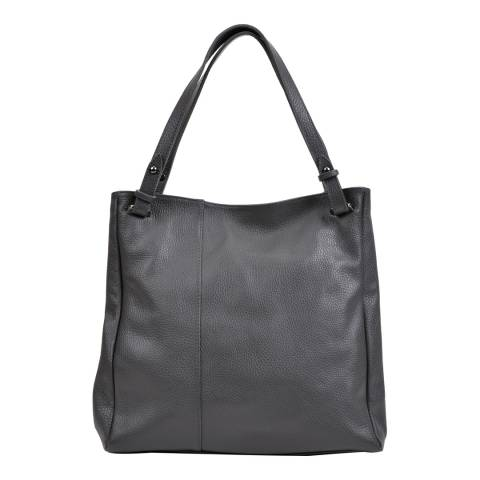 Anna Luchini Grey Leather Shoulder Bag