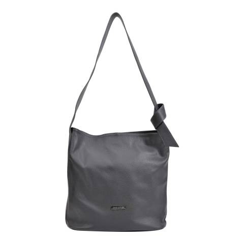 Anna Luchini Grey Leather Shoulder Bag
