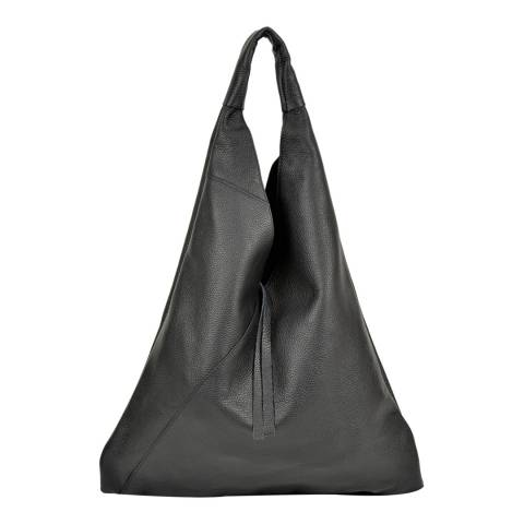 Anna Luchini Black Leather Tote Bag