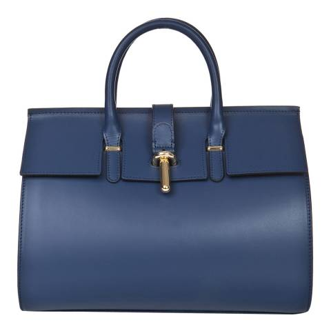 Markese Navy Leather Top Handle Bag