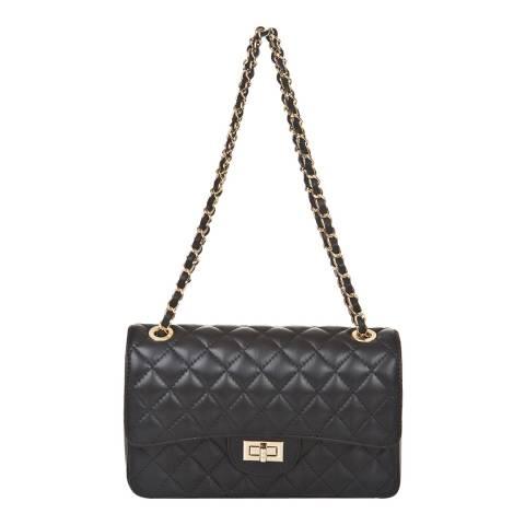 Markese Black Leather Chain Shoulder Bag