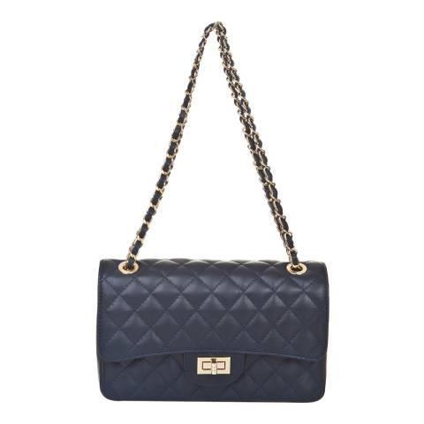 Markese Blue Leather Chain Shoulder Bag