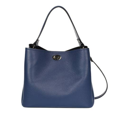 Massimo Castelli Blue Leather Top Handle Bag