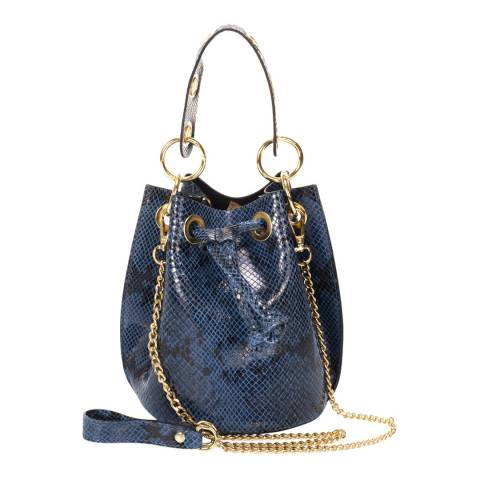 Markese Blue Snake Print Leather Bucket Bag