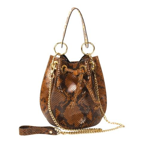Markese Brown Snake Print Leather Bucket Bag