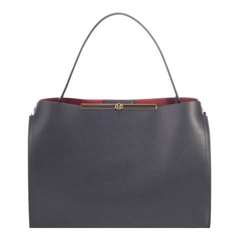 Lisa Minardi Dark Grey Leather Top Handle Bag