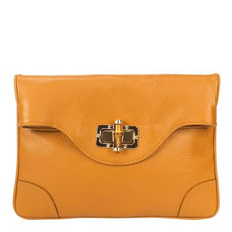 Giulia Massari Cognac Leather Clutch Bag