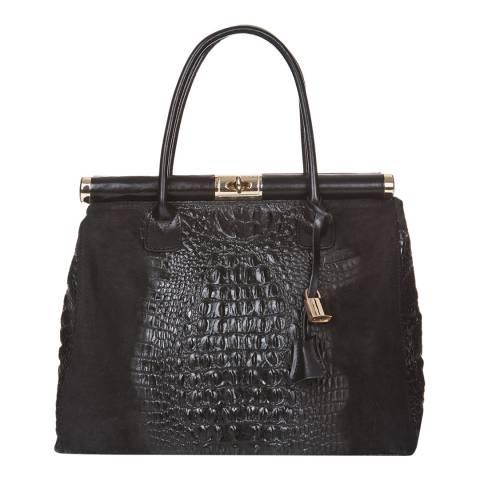 Markese Black Leather Top Handle Bag
