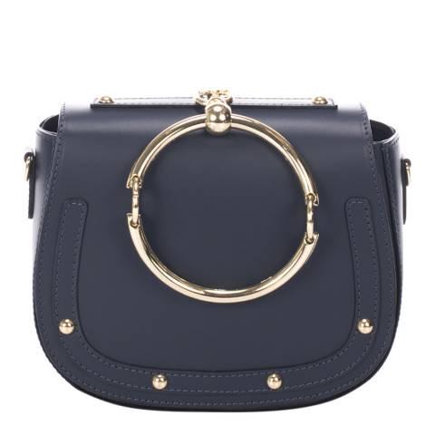 Giulia Massari Navy Leather Clutch Bag