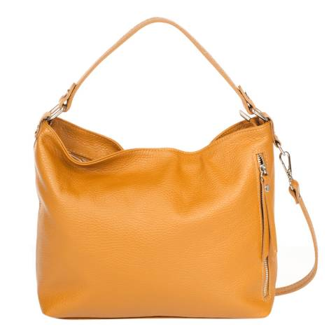 Giulia Massari Tan Leather Shoulder Bag
