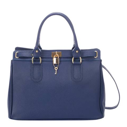 Giorgio Costa Blue Leather Top Handle Bag
