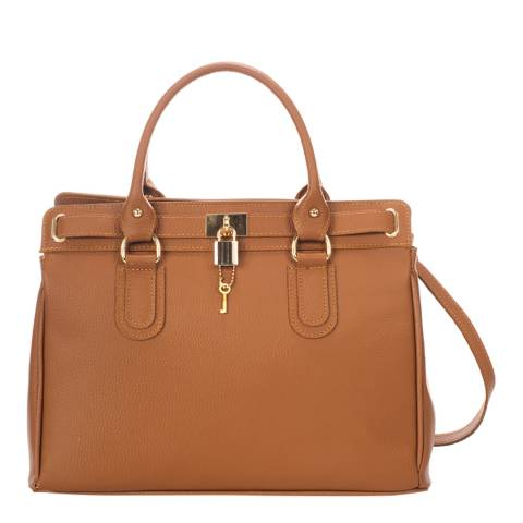 Giorgio Costa Cognac Leather Top Handle Bag