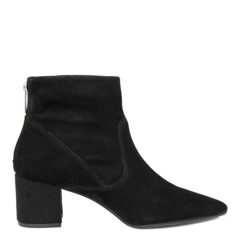 Gusto Black Suede Heeled Ankle Boot