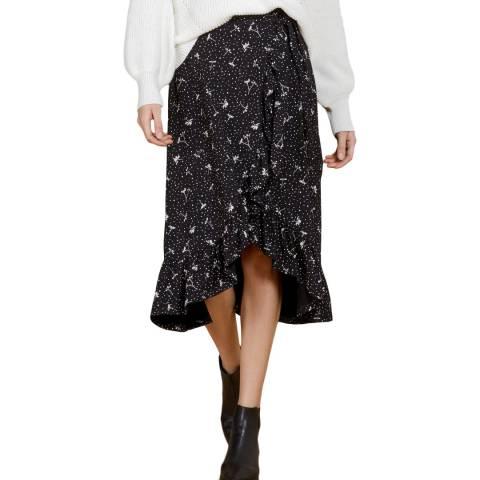 Baukjen Black &White Polka Floral Angeline Wrap Skirt