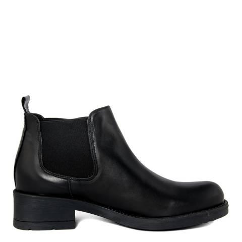 Pelledoca Black Vintage Effect Leather Ankle Boot
